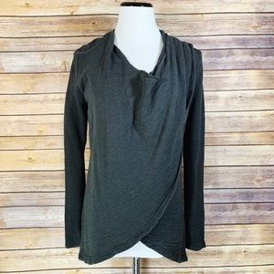 Lucy Charcoal Grey Uplifting Wrap Pullover Sweater